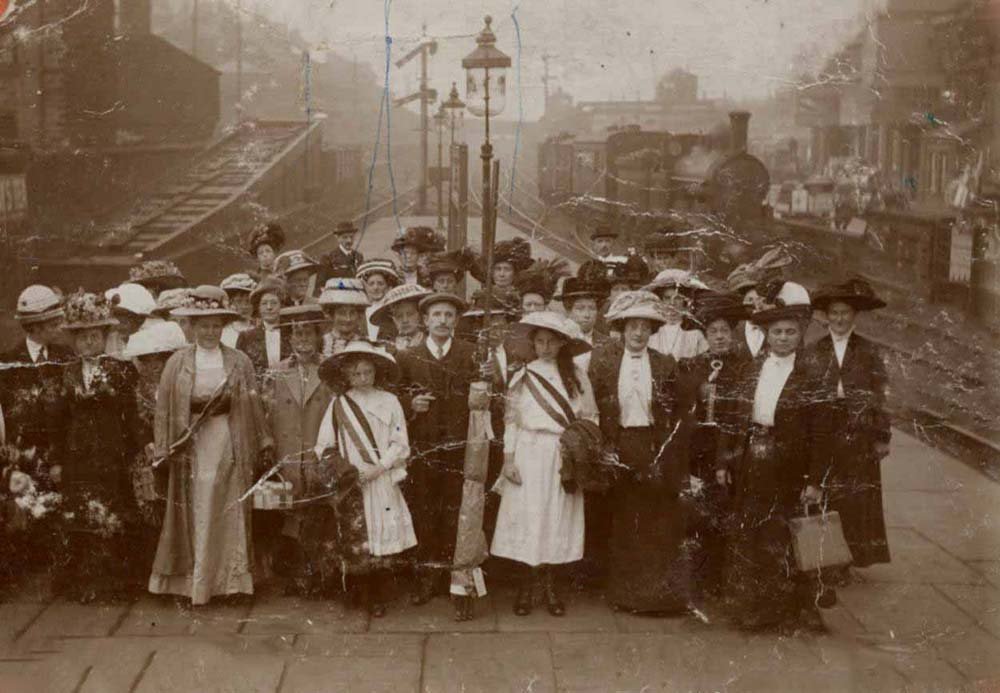 Clitheroe Women's suffrage society at Nelson station 1911