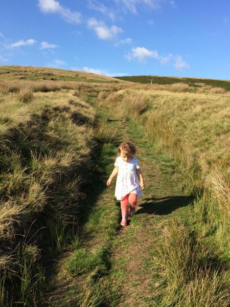 Lorna exploring Pendle hill age 2