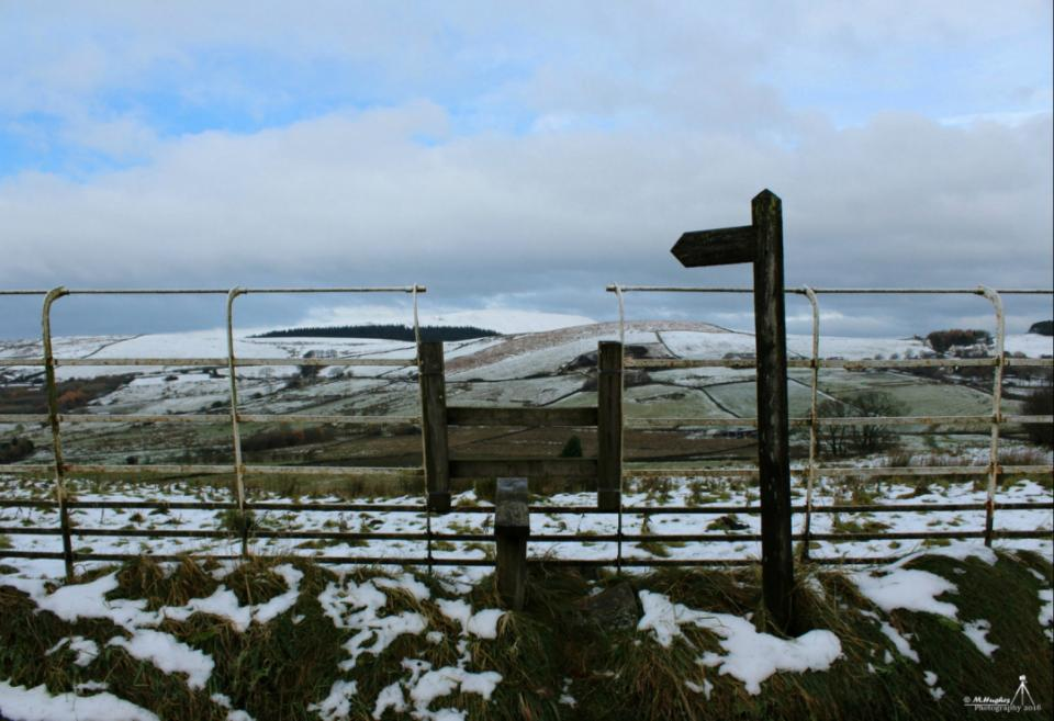'Stile to the views' Pendle taken from a snowy Barley