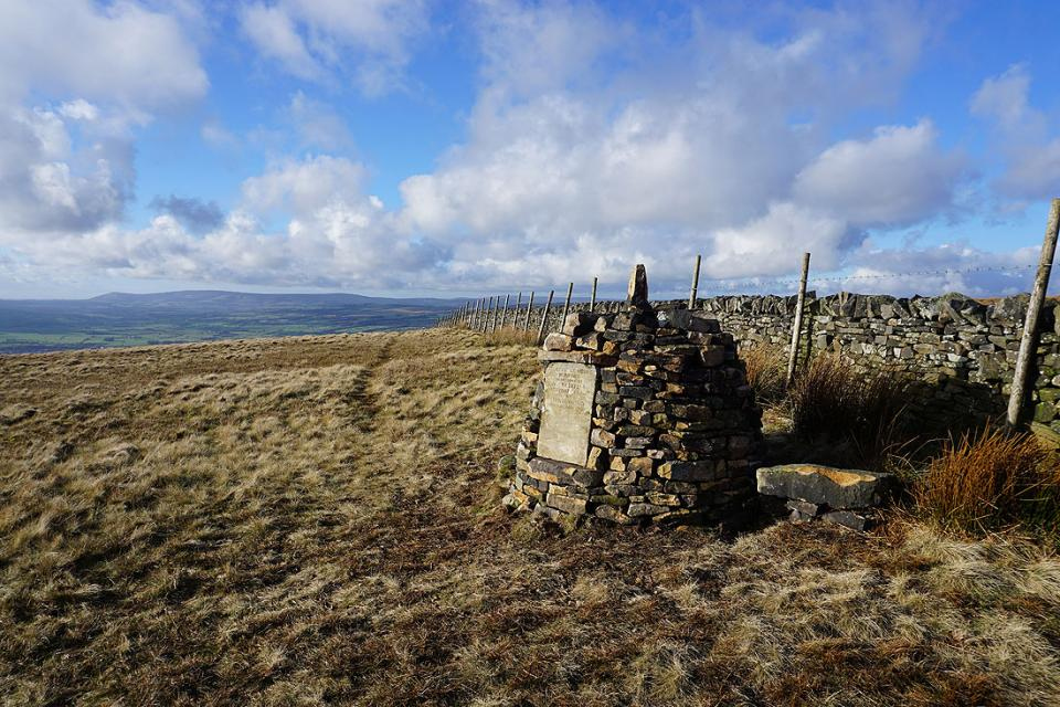 The Clayton-le-Moors Harriers cairn on Mearley Moor