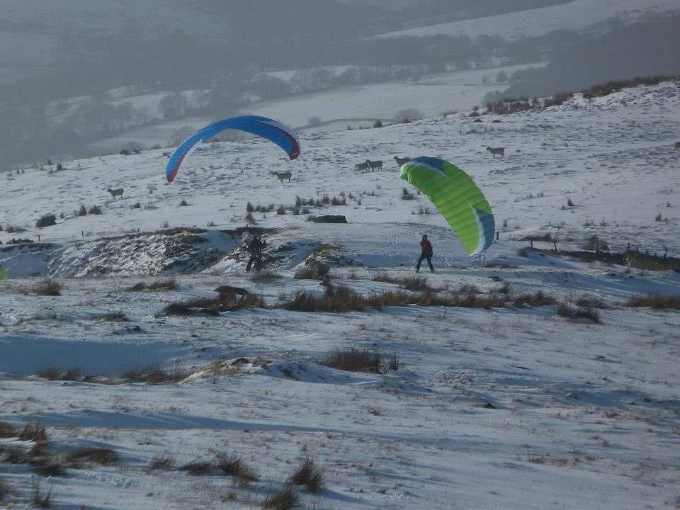 Paragliding in the snow