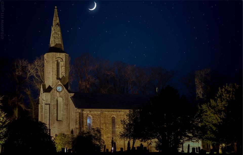 Sabden Parish Church at night