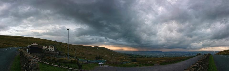 Pendle storm clouds from the ski centre panorama