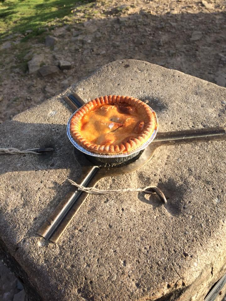 A Haffners Meat and Potato Pie on the Pendle Hill trig point