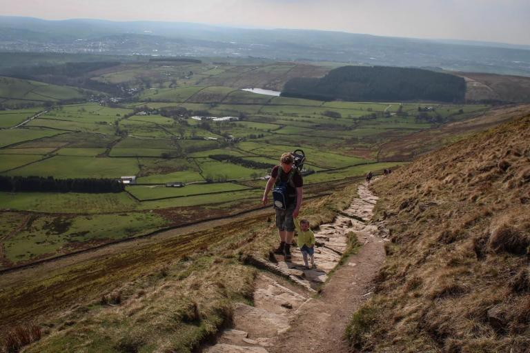 I took my 2 year old daughter for a walk up Pendle Hill with her in my baby carrier but she was determined to walk up herself. The picture is of me approaching the top of the steps. It was a very proud moment for me.