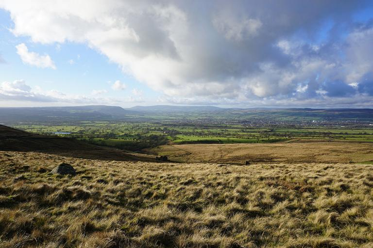 Late afternoon light across the Ribble Valley from the Nick of Pendle