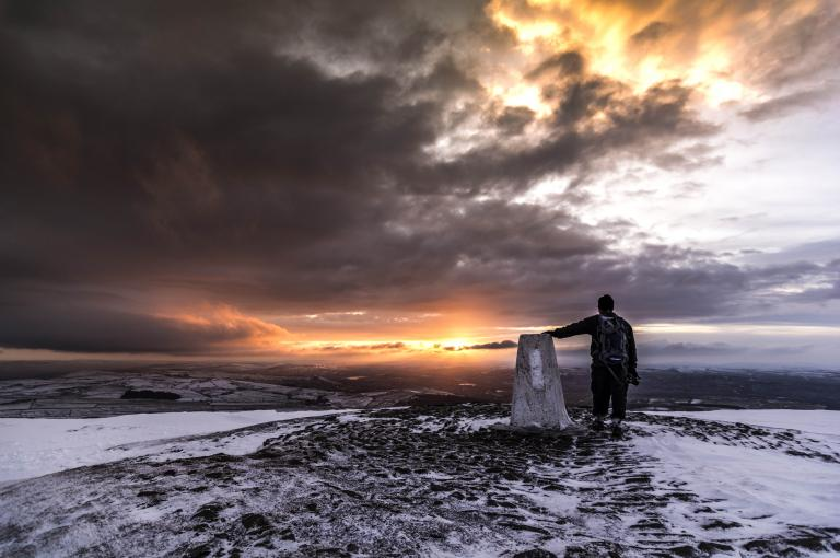 Winter sunrise from the summit of Pendle Hill