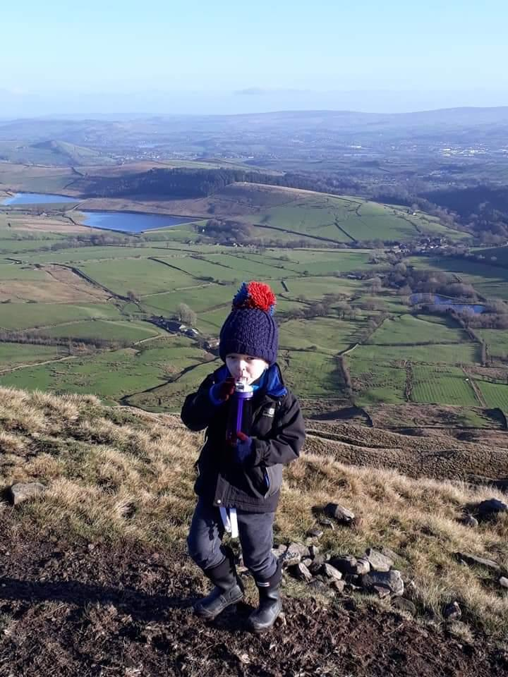 My 6 year old son after having a brave peek over the edge