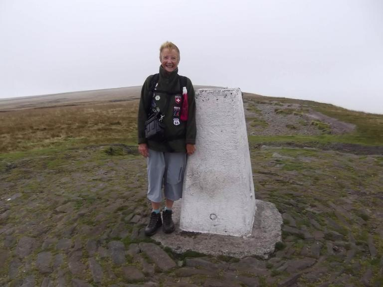 Myself on my second trip up Pendle Hill and I've yet to see the view ! This particular day was a scorcher when I stopped at Ogden reservoir, but a little from the summit it cold cold and misty !
