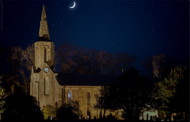 Sabden Parish Church at night