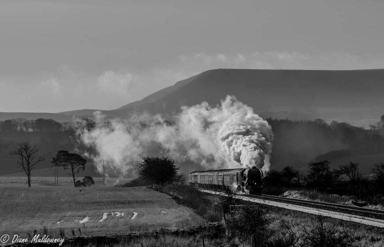 Flying Scotsman with Pendle Hill in the backdrop 4th Dec 2019