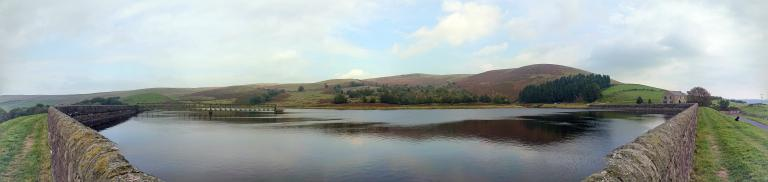 Churn Clough reservoir & Pendle Hill panorama