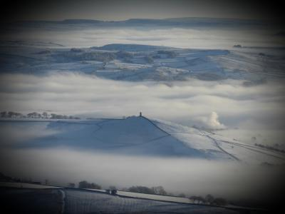 Blacko Tower from Pendle Hill 31st Jan 201o © Richard Ratcliffe