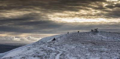 A winters afternoon at the summit of Pendle Hill © Andy Tipping