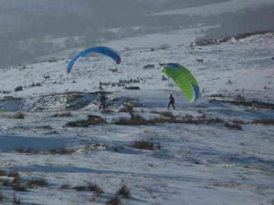 Paragliding in the snow © Kirsty Goldsmith