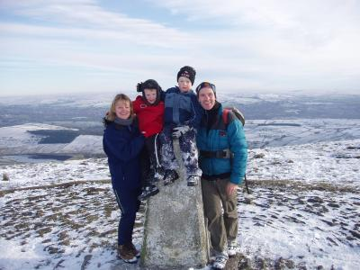 Nov 2004 Tom and James second visit to the top of Pendle Hill with Mum & Dad. Many more visits have since followed :-) © Richard Marchant